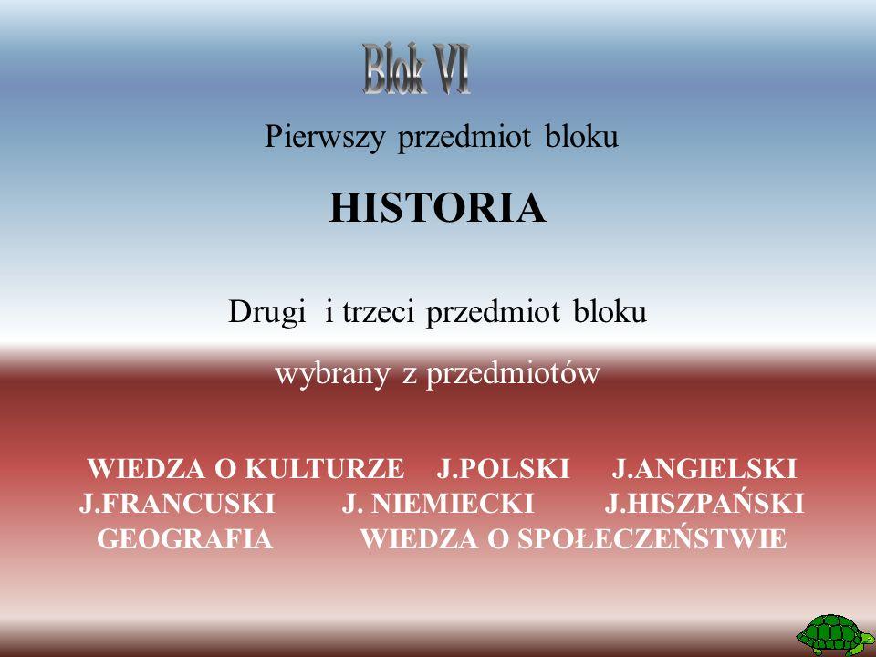 Pierwszy przedmiot bloku HISTORIA Drugi i trzeci przedmiot bloku wybrany z przedmiotów WIEDZA O KULTURZEJ.POLSKIJ.ANGIELSKI J.FRANCUSKIJ.