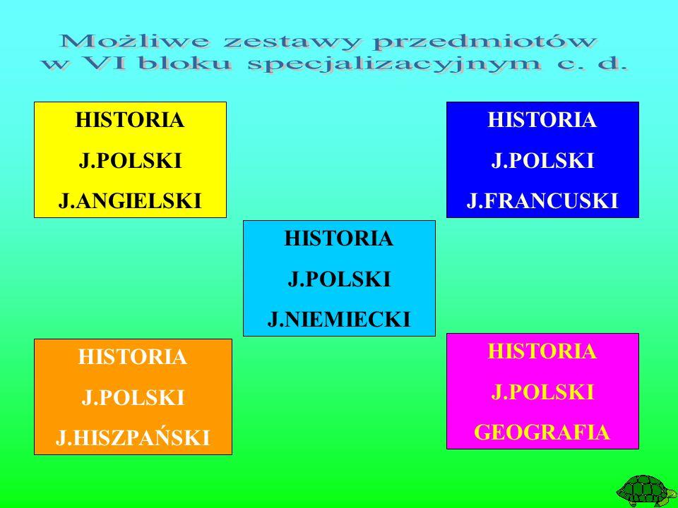 HISTORIA J.POLSKI J.ANGIELSKI HISTORIA J.POLSKI J.FRANCUSKI HISTORIA J.POLSKI J.HISZPAŃSKI HISTORIA J.POLSKI J.NIEMIECKI HISTORIA J.POLSKI GEOGRAFIA