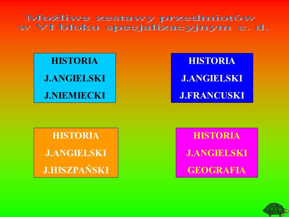 HISTORIA J.ANGIELSKI J.FRANCUSKI HISTORIA J.ANGIELSKI J.HISZPAŃSKI HISTORIA J.ANGIELSKI J.NIEMIECKI HISTORIA J.ANGIELSKI GEOGRAFIA