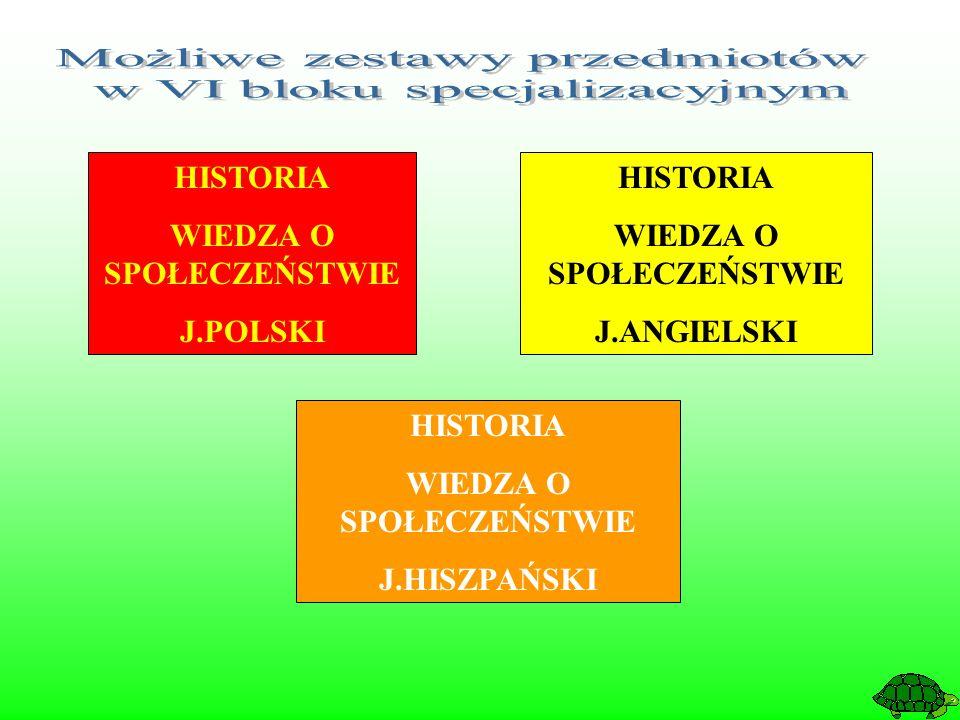 HISTORIA WIEDZA O SPOŁECZEŃSTWIE J.POLSKI HISTORIA WIEDZA O SPOŁECZEŃSTWIE J.ANGIELSKI HISTORIA WIEDZA O SPOŁECZEŃSTWIE J.HISZPAŃSKI