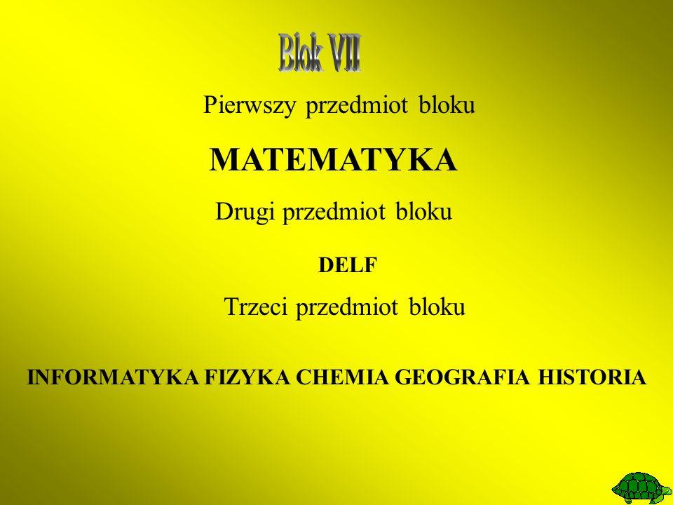 Pierwszy przedmiot bloku MATEMATYKA Drugi przedmiot bloku DELF Trzeci przedmiot bloku INFORMATYKA FIZYKA CHEMIA GEOGRAFIA HISTORIA