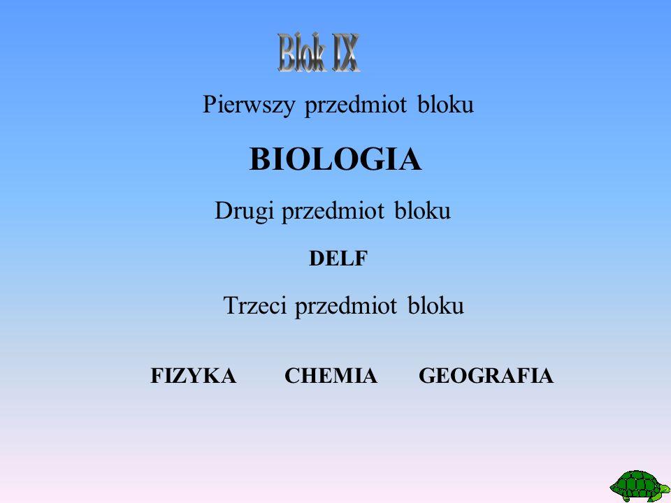 Pierwszy przedmiot bloku BIOLOGIA Drugi przedmiot bloku Trzeci przedmiot bloku FIZYKACHEMIAGEOGRAFIA DELF