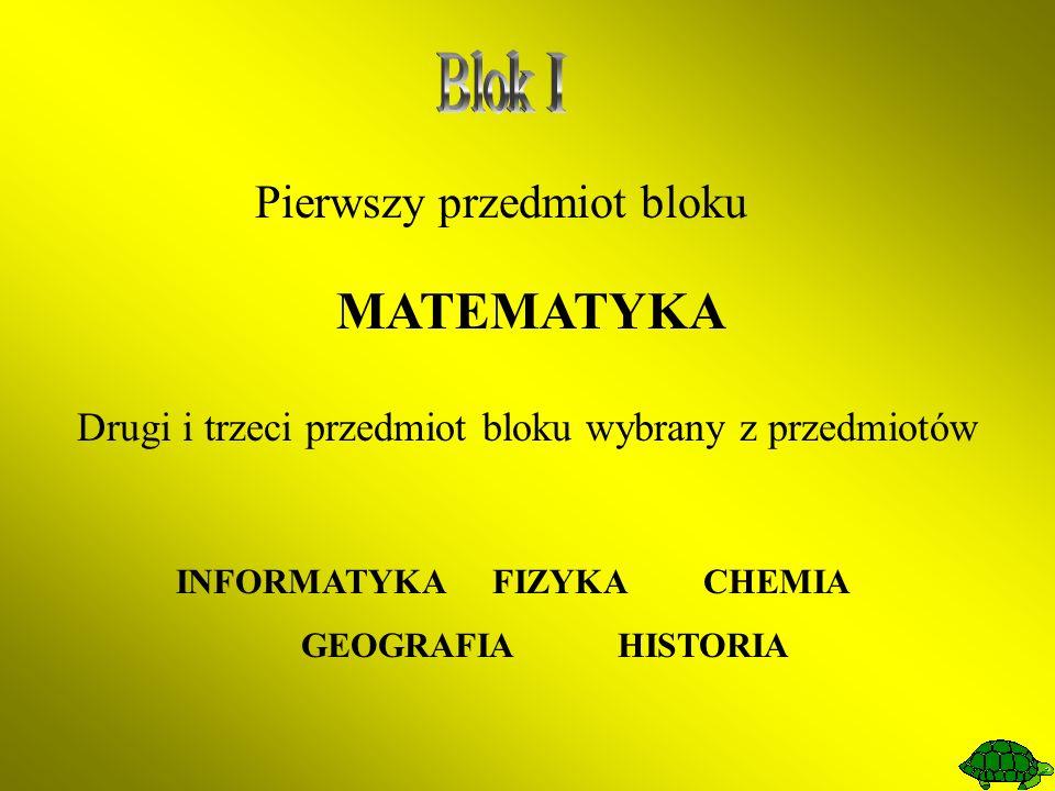 Pierwszy przedmiot bloku MATEMATYKA Drugi i trzeci przedmiot bloku wybrany z przedmiotów INFORMATYKAFIZYKACHEMIA GEOGRAFIAHISTORIA