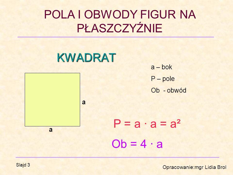 POLA I OBWODY FIGUR NA PŁASZCZYŹNIE Opracowanie:mgr Lidia Brol Slajd 3 KWADRAT a a a – bok P – pole Ob - obwód P = a · a = a² Ob = 4 · a