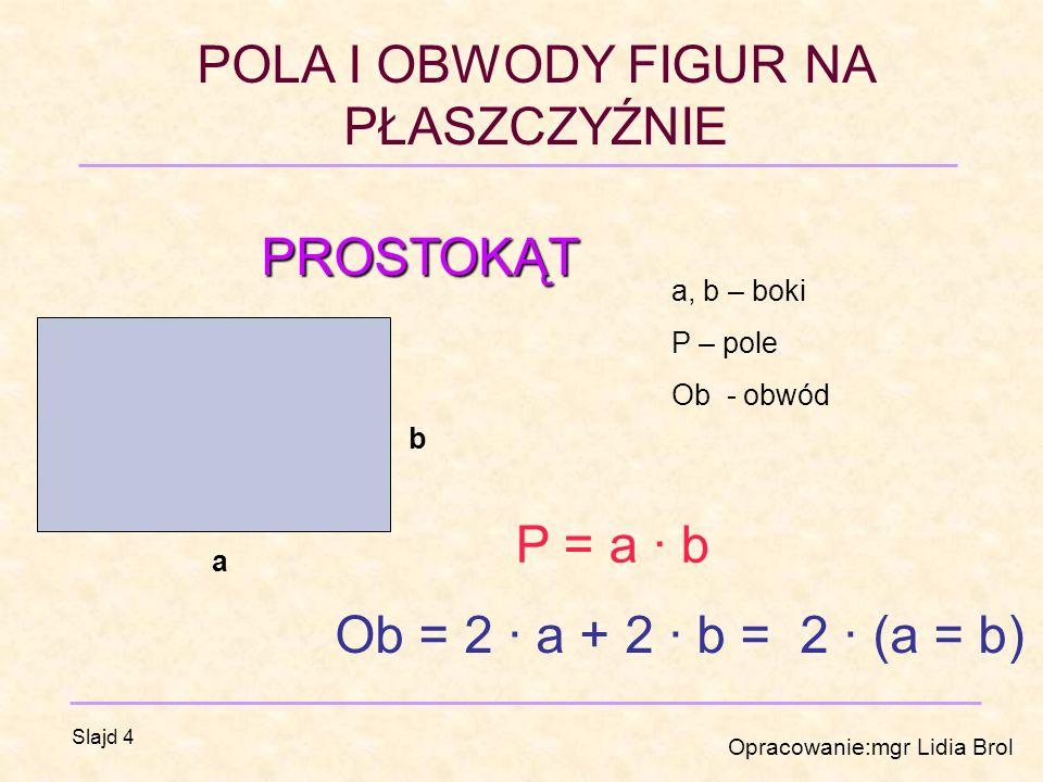 POLA I OBWODY FIGUR NA PŁASZCZYŹNIE Opracowanie:mgr Lidia Brol Slajd 4 PROSTOKĄT a b a, b – boki P – pole Ob - obwód P = a · b Ob = 2 · a + 2 · b = 2 · (a = b)