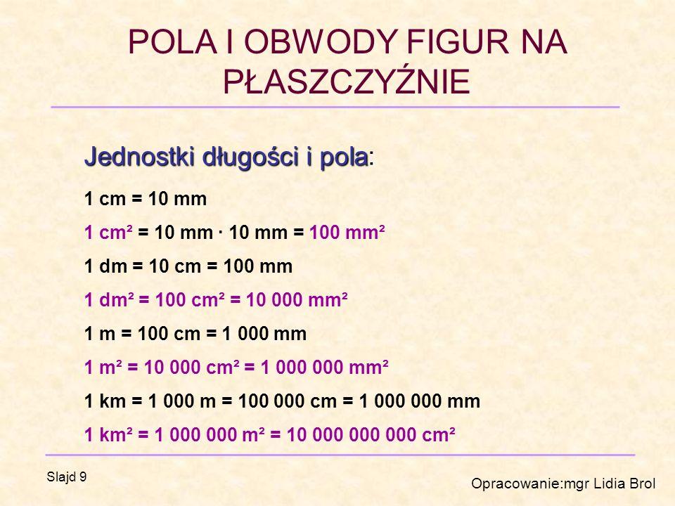 POLA I OBWODY FIGUR NA PŁASZCZYŹNIE Opracowanie:mgr Lidia Brol Slajd 9 Jednostki długości i pola: 1 cm = 10 mm 1 cm² = 10 mm · 10 mm = 100 mm² 1 dm = 10 cm = 100 mm 1 dm² = 100 cm² = 10 000 mm² 1 m = 100 cm = 1 000 mm 1 m² = 10 000 cm² = 1 000 000 mm² 1 km = 1 000 m = 100 000 cm = 1 000 000 mm 1 km² = 1 000 000 m² = 10 000 000 000 cm²