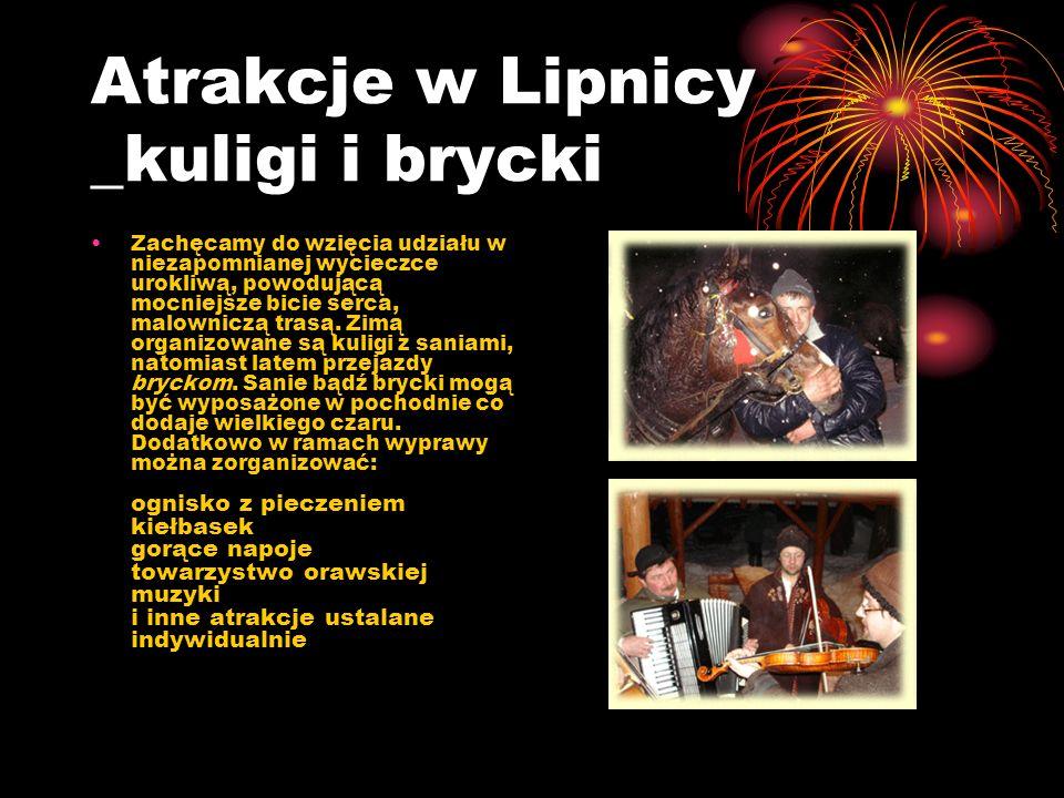 Atrakcje w Lipnicy _kuligi i brycki Zachęcamy do wzięcia udziału w niezapomnianej wycieczce urokliwą, powodującą mocniejsze bicie serca, malowniczą trasą.