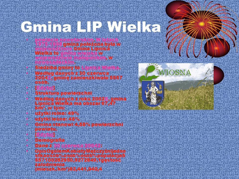 Gmina LIP Wielka powiecie nowotarskim. W latach 1975-1998 gmina położona była w województwie Gmina Lipnica Wielka to gmina wiejska w województwie mało