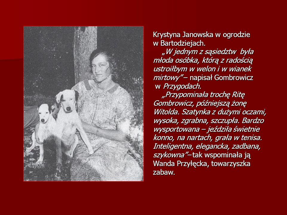 Krystyna Janowska w ogrodzie w Bartodziejach. W jednym z sąsiedztw była młoda osóbka, którą z radością ustroiłbym w welon i w wianek mirtowy – napisał