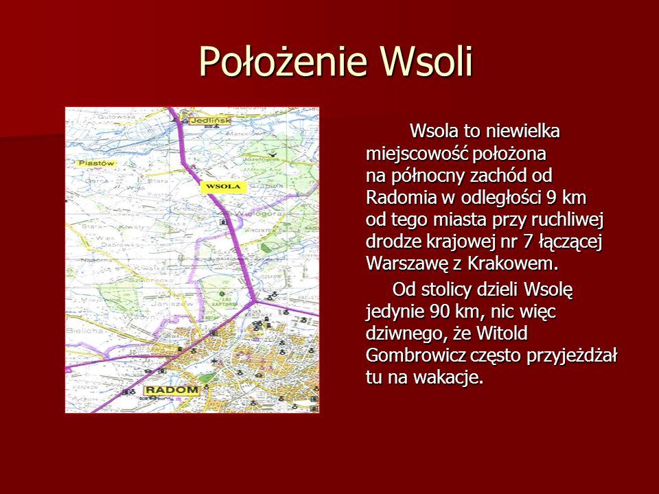Położenie Wsoli Wsola to niewielka miejscowość położona na północny zachód od Radomia w odległości 9 km od tego miasta przy ruchliwej drodze krajowej