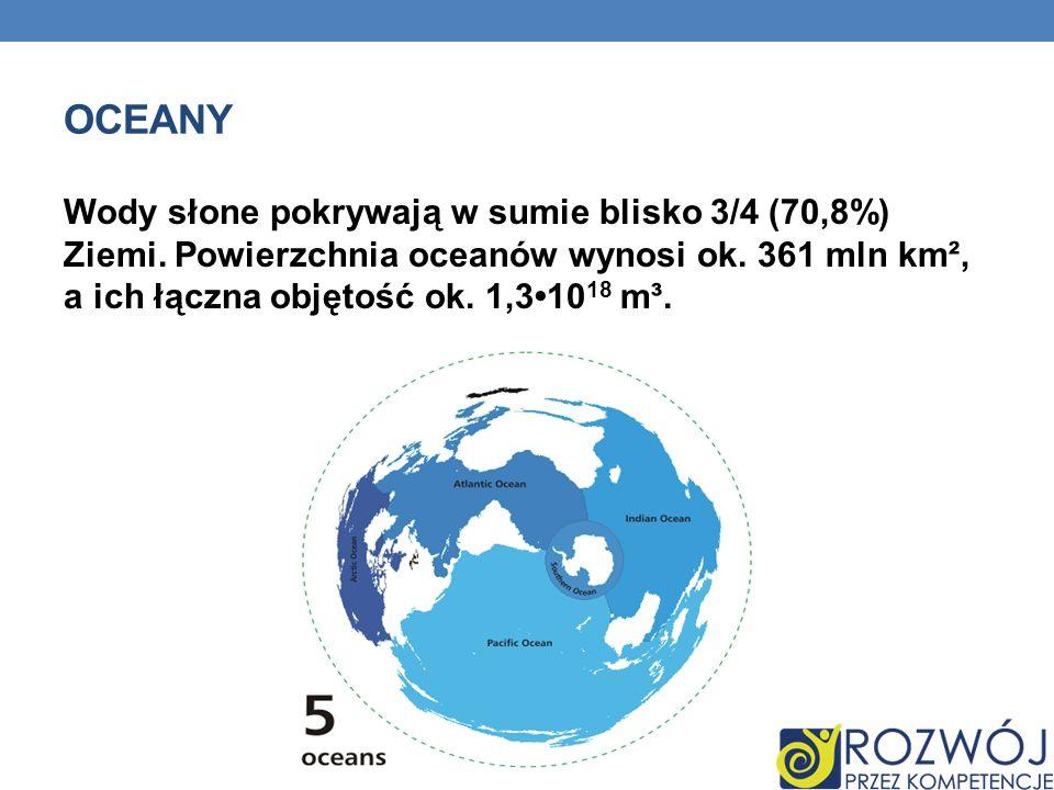 Wody słone pokrywają w sumie blisko 3/4 (70,8%) Ziemi. Powierzchnia oceanów wynosi ok. 361 mln km², a ich łączna objętość ok. 1,310 18 m³. OCEANY