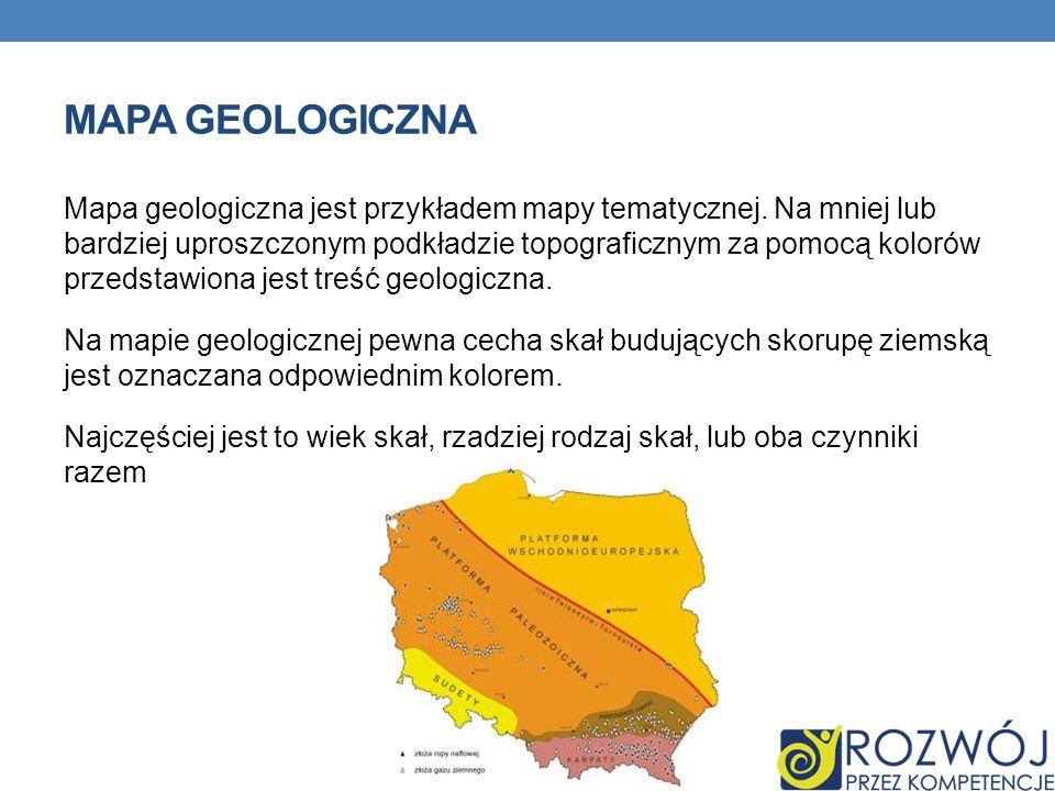 Mapa geologiczna jest przykładem mapy tematycznej. Na mniej lub bardziej uproszczonym podkładzie topograficznym za pomocą kolorów przedstawiona jest t
