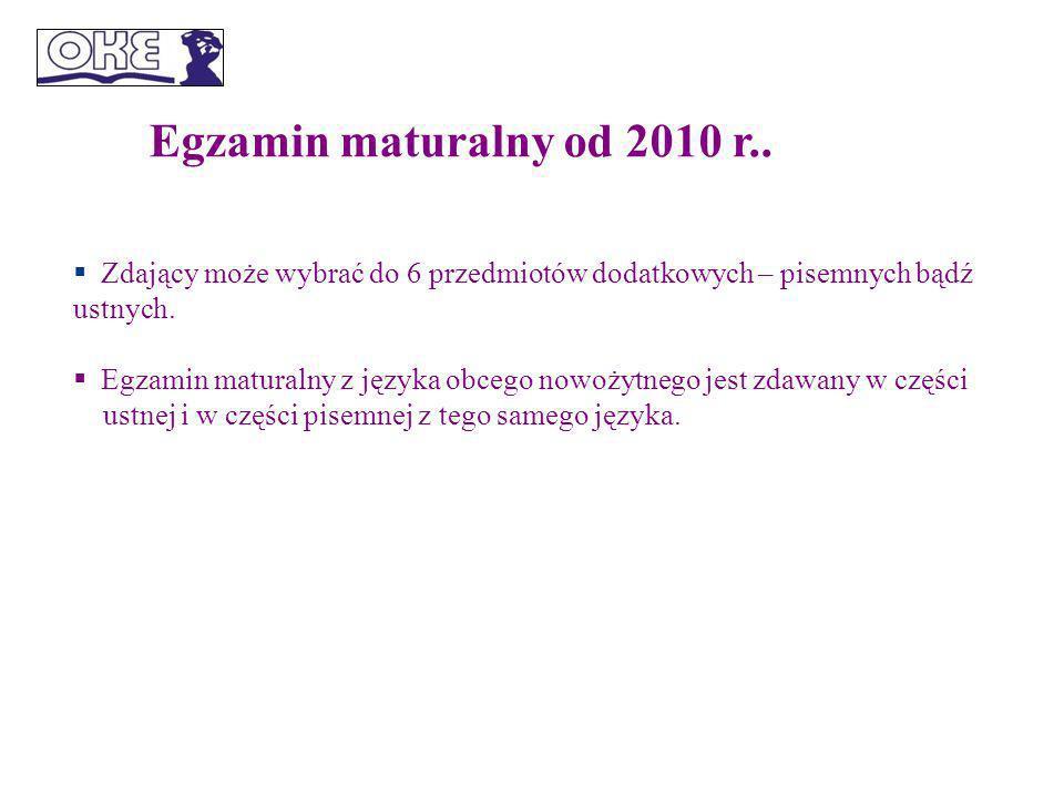 Egzamin maturalny od 2010 r..Matematyka jest przedmiotem obowiązkowym.