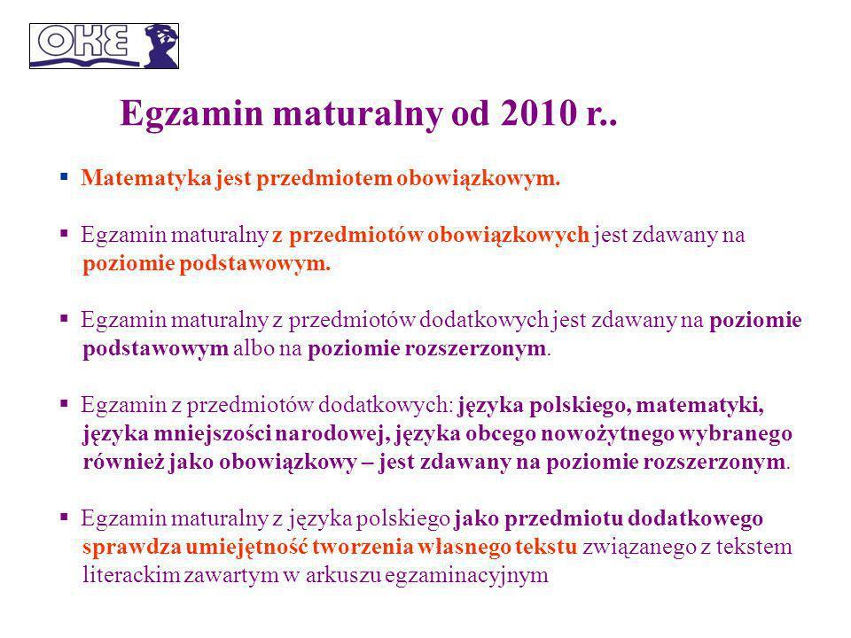 Egzamin maturalny od 2010 r.. Matematyka jest przedmiotem obowiązkowym.