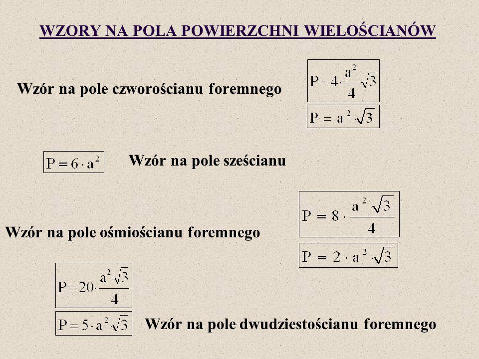 WZORY NA POLA POWIERZCHNI WIELOŚCIANÓW Wzór na pole czworościanu foremnego Wzór na pole sześcianu Wzór na pole ośmiościanu foremnego Wzór na pole dwud