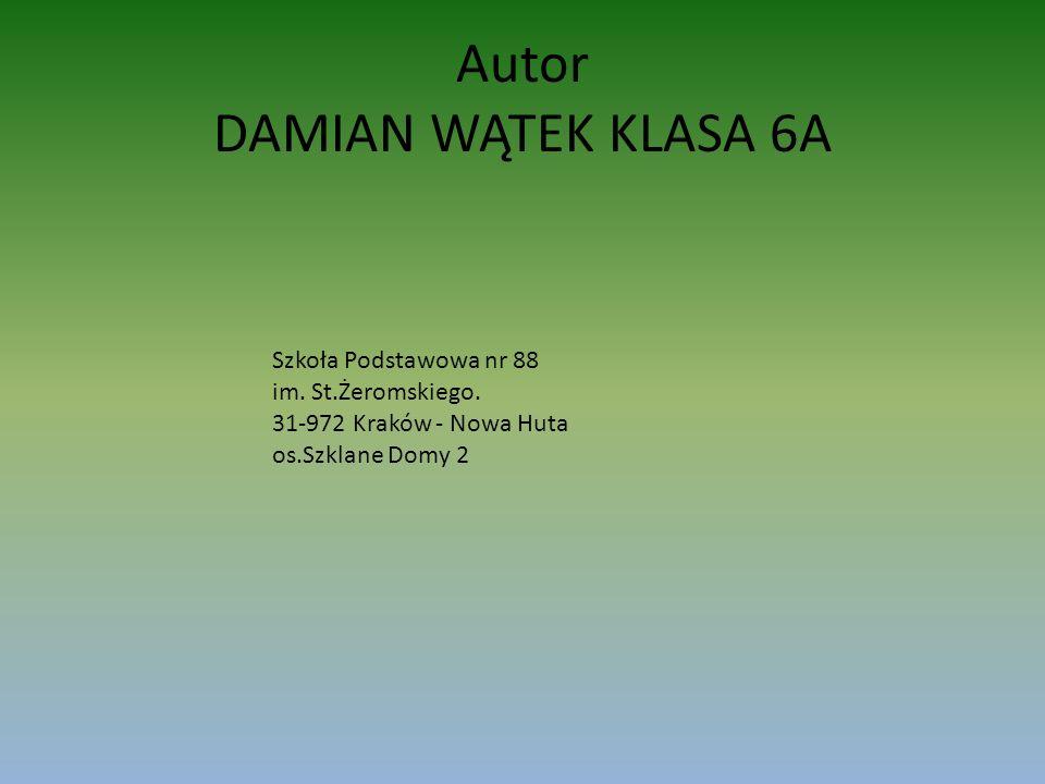 Autor DAMIAN WĄTEK KLASA 6A Szkoła Podstawowa nr 88 im. St.Żeromskiego. 31-972 Kraków - Nowa Huta os.Szklane Domy 2