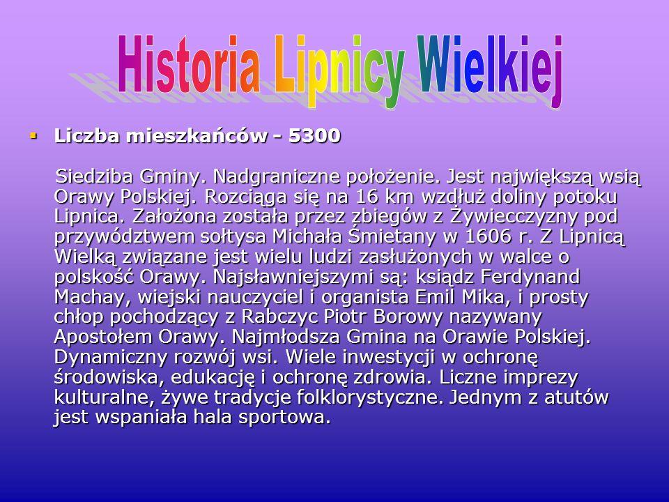 Liczba mieszkańców - 5300 Liczba mieszkańców - 5300 Siedziba Gminy. Nadgraniczne położenie. Jest największą wsią Orawy Polskiej. Rozciąga się na 16 km