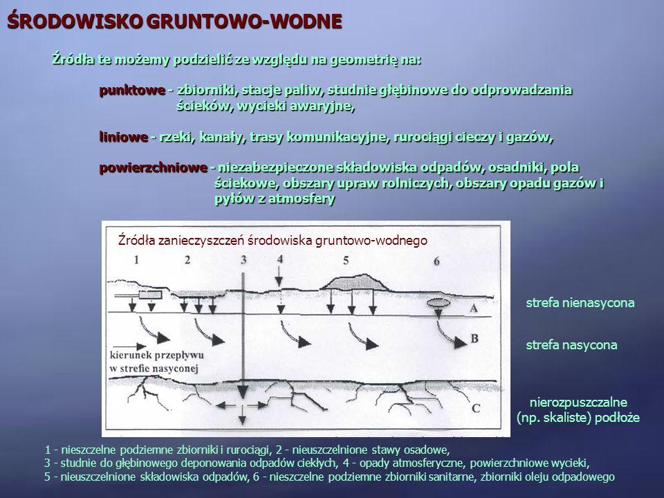ŚRODOWISKO GRUNTOWO-WODNE Źródła te możemy podzielić ze względu na geometrię na: punktowe - zbiorniki, stacje paliw, studnie głębinowe do odprowadzani