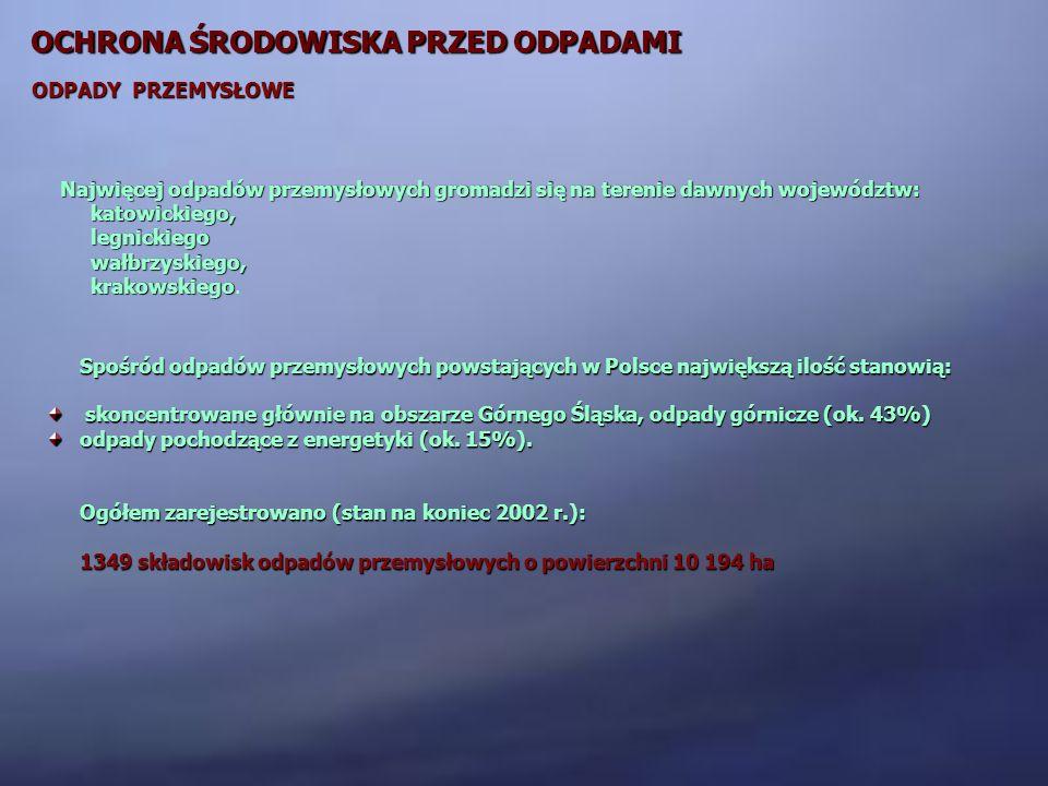 OCHRONA ŚRODOWISKA PRZED ODPADAMI ODPADY PRZEMYSŁOWE Spośród odpadów przemysłowych powstających w Polsce największą ilość stanowią: skoncentrowane głó