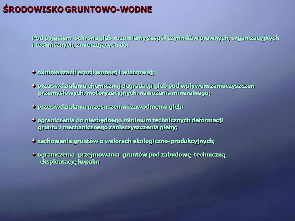 ŚRODOWISKO GRUNTOWO-WODNE Pod pojęciem ochrona gleb rozumiemy zespół czynników prawnych, organizacyjnych i technicznych, zmierzających do: minimalizac