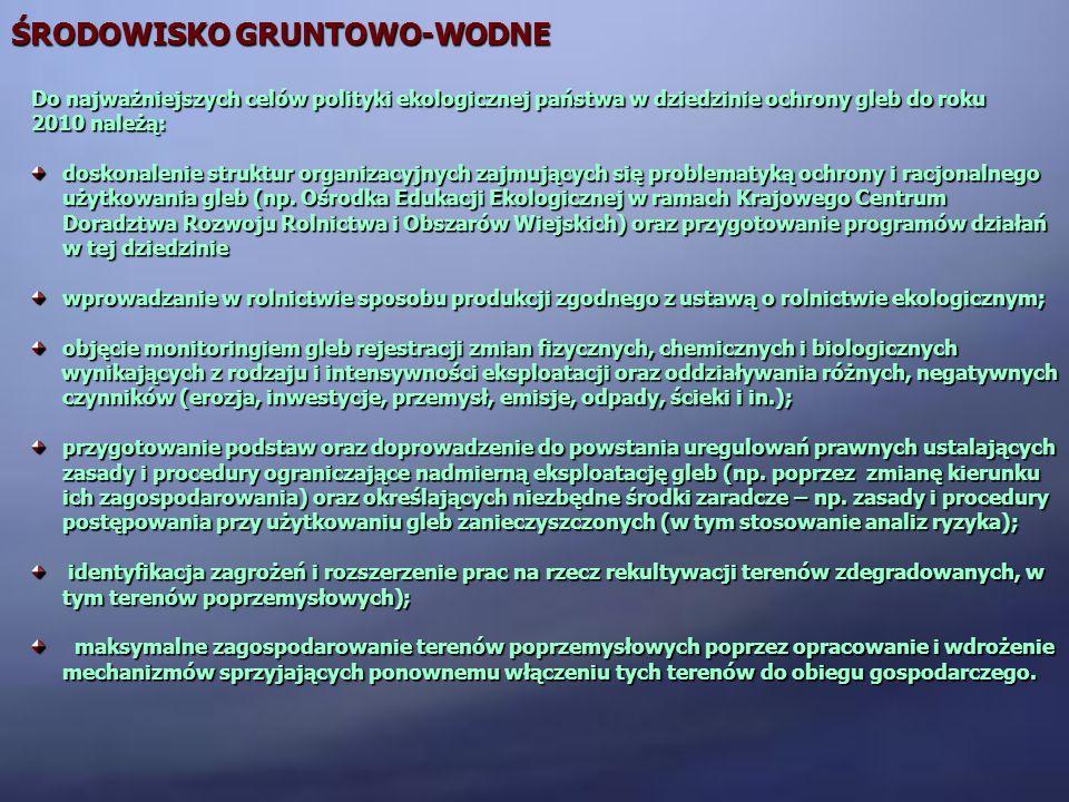 ŚRODOWISKO GRUNTOWO-WODNE Do najważniejszych celów polityki ekologicznej państwa w dziedzinie ochrony gleb do roku 2010 należą: doskonalenie struktur