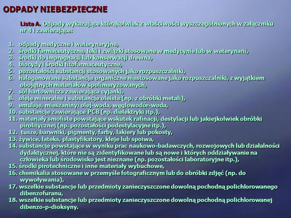 ODPADY NIEBEZPIECZNE Lista A. Odpady wykazujące którąkolwiek z właściwości wyszczególnionych w załączniku nr 4 i zawierające: 1. odpady medyczne i wet