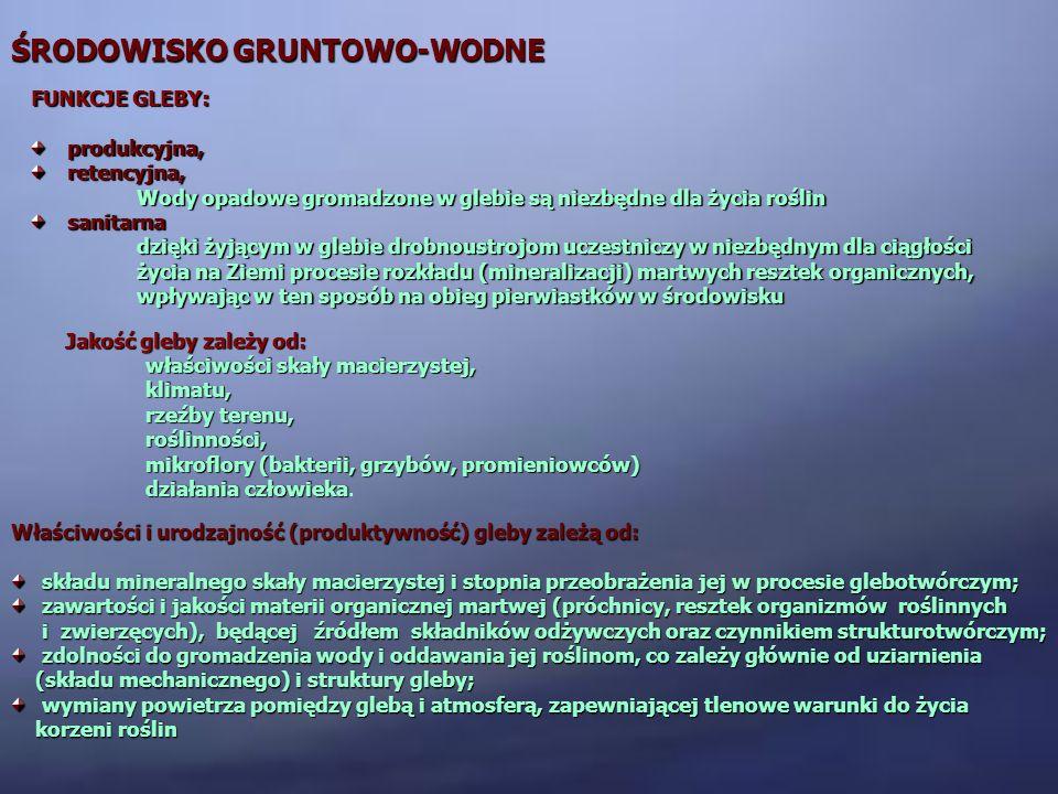 ŚRODOWISKO GRUNTOWO-WODNE Klasyfikacja gleb ze względu na zasięg wys tę powania: -strefowe – charakterystyczne dla danej strefy klimatycznej.