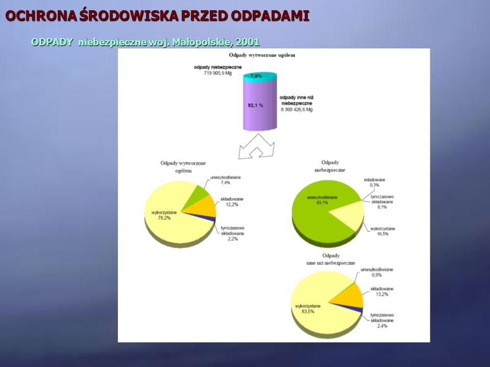 OCHRONA ŚRODOWISKA PRZED ODPADAMI ODPADY niebezpieczne woj. Małopolskie, 2001