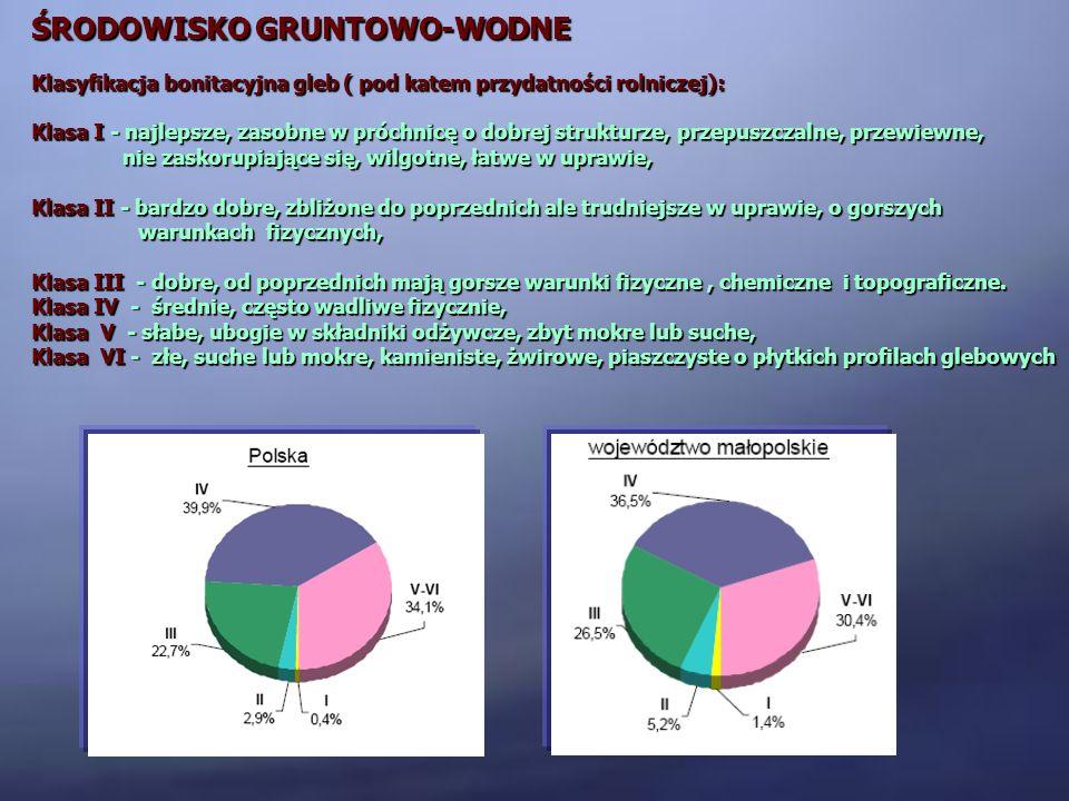ŚRODOWISKO GRUNTOWO-WODNE Klasyfikacja bonitacyjna gleb ( pod katem przydatności rolniczej): Klasa I - najlepsze, zasobne w próchnicę o dobrej struktu