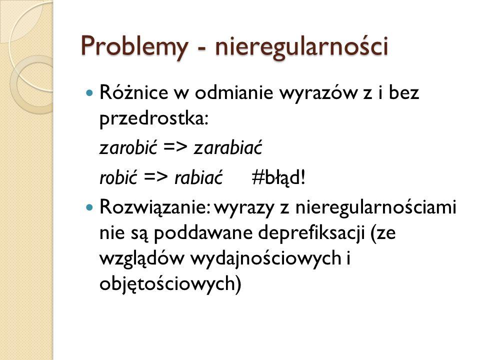 Problemy - nieregularności Różnice w odmianie wyrazów z i bez przedrostka: zarobić => zarabiać robić => rabiać #błąd! Rozwiązanie: wyrazy z nieregular
