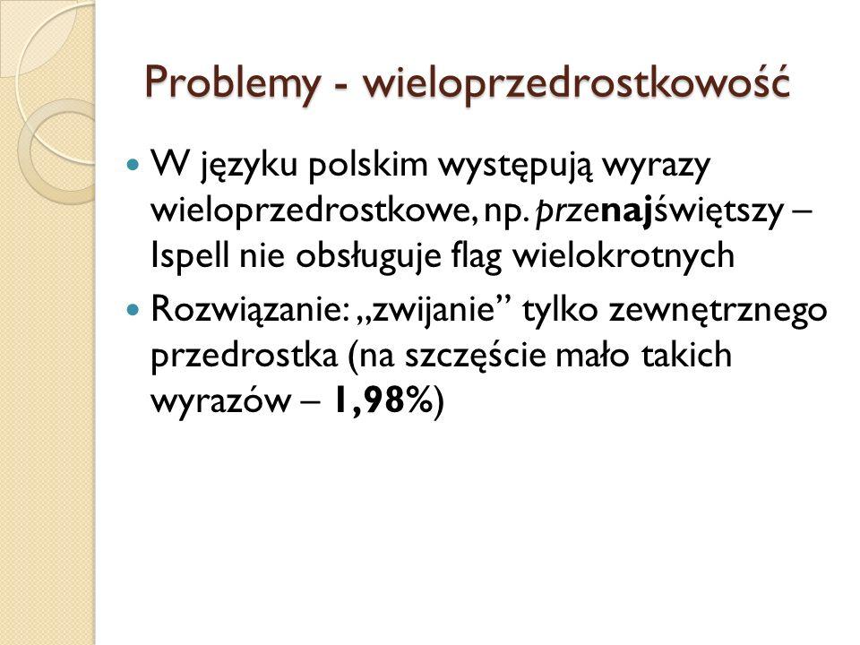 Problemy - wieloprzedrostkowość W języku polskim występują wyrazy wieloprzedrostkowe, np. przenajświętszy – Ispell nie obsługuje flag wielokrotnych Ro