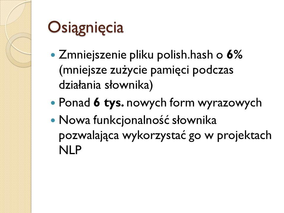 Osiągnięcia Zmniejszenie pliku polish.hash o 6% (mniejsze zużycie pamięci podczas działania słownika) Ponad 6 tys. nowych form wyrazowych Nowa funkcjo