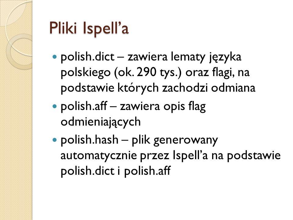 Problemy – brak flag Słownik Ispell zawiera 26 flag – definicja przyrostków Wymagane dodatkowe 33 flagi na zdefiniowanie przedrostków Rozwiązanie: przekompilowanie korektora Ispell do obsługi wszystkich znaków ASCII jako możliwych flag