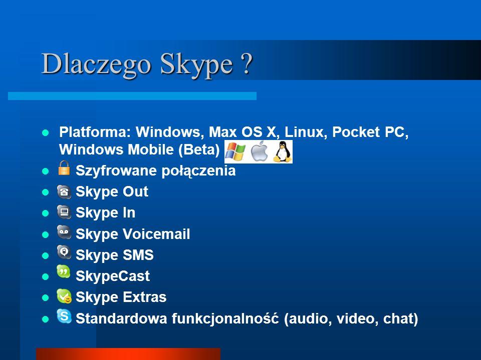 Dlaczego Skype ? Platforma: Windows, Max OS X, Linux, Pocket PC, Windows Mobile (Beta) Szyfrowane połączenia Skype Out Skype In Skype Voicemail Skype