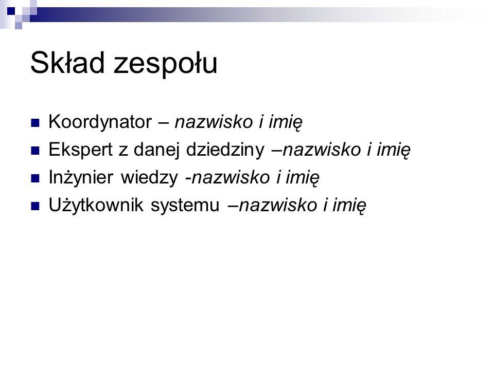 Skład zespołu Koordynator – nazwisko i imię Ekspert z danej dziedziny –nazwisko i imię Inżynier wiedzy -nazwisko i imię Użytkownik systemu –nazwisko i imię