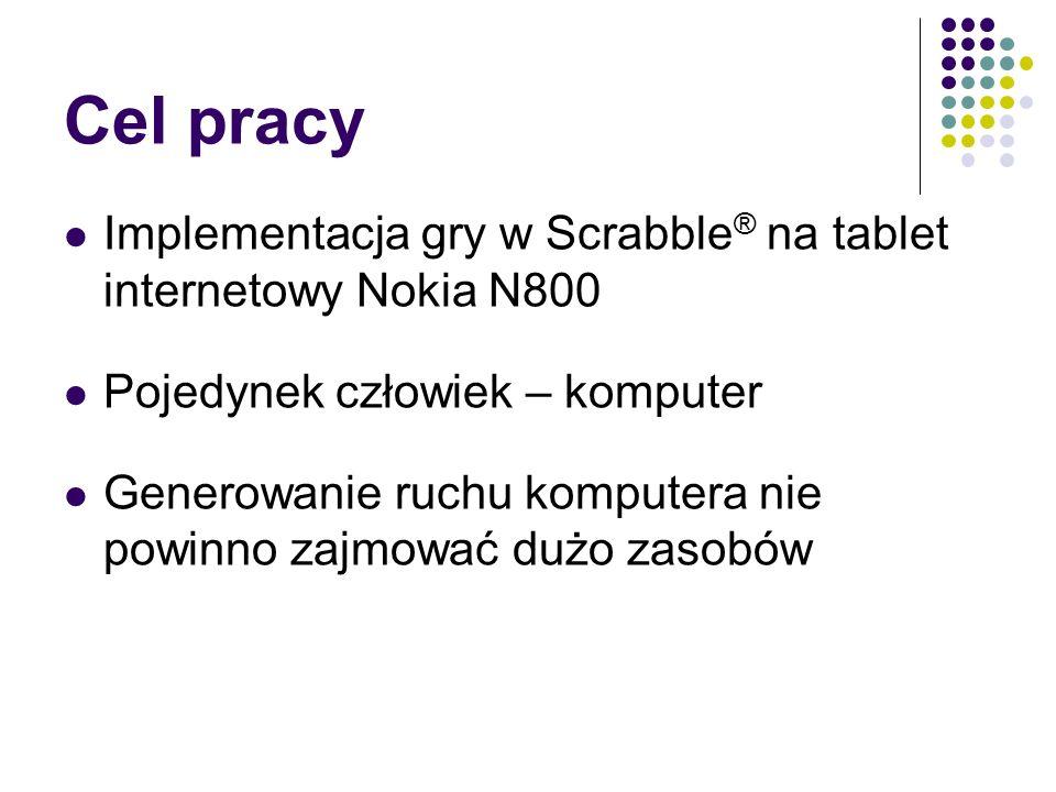 Cel pracy Implementacja gry w Scrabble ® na tablet internetowy Nokia N800 Pojedynek człowiek – komputer Generowanie ruchu komputera nie powinno zajmować dużo zasobów
