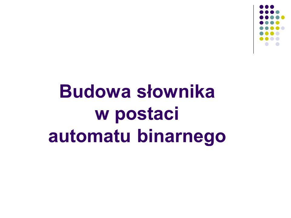 Budowa słownika w postaci automatu binarnego
