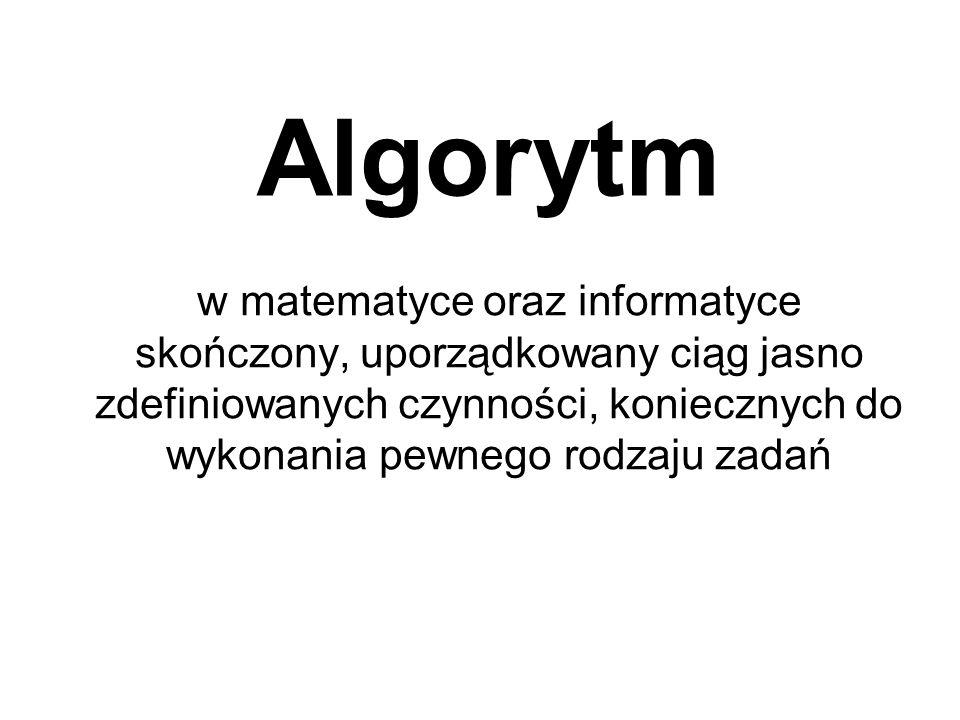 Algorytm w matematyce oraz informatyce skończony, uporządkowany ciąg jasno zdefiniowanych czynności, koniecznych do wykonania pewnego rodzaju zadań