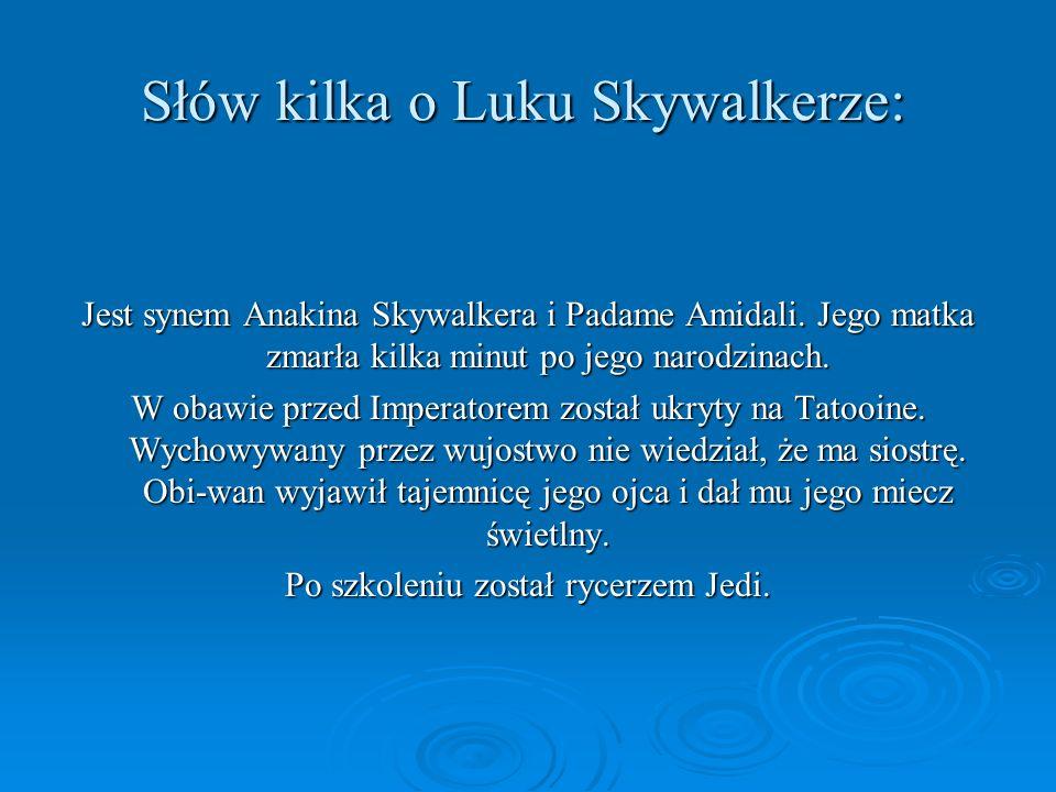 Słów kilka o Luku Skywalkerze: Jest synem Anakina Skywalkera i Padame Amidali. Jego matka zmarła kilka minut po jego narodzinach. W obawie przed Imper