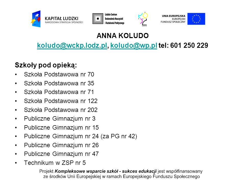 ANNA KOLUDO koludo@wckp.lodz.plkoludo@wckp.lodz.pl, koludo@wp.pl tel: 601 250 229koludo@wp.pl Szkoły pod opieką: Szkoła Podstawowa nr 70 Szkoła Podsta