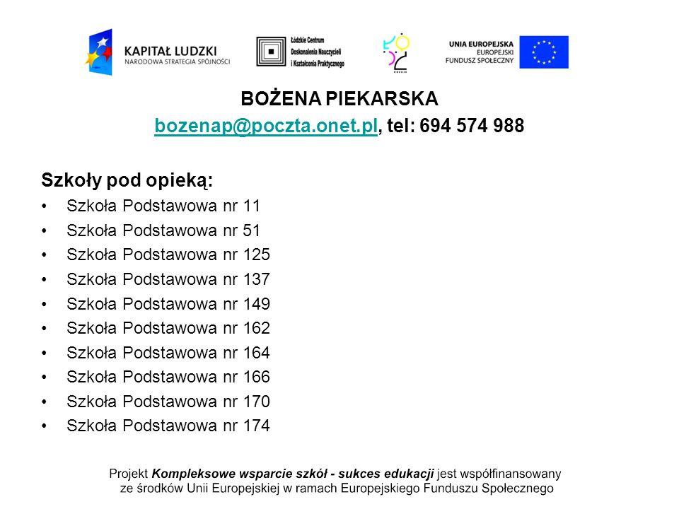 BOŻENA PIEKARSKA bozenap@poczta.onet.plbozenap@poczta.onet.pl, tel: 694 574 988 Szkoły pod opieką: Szkoła Podstawowa nr 11 Szkoła Podstawowa nr 51 Szk