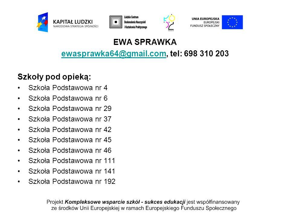 EWA SPRAWKA ewasprawka64@gmail.comewasprawka64@gmail.com, tel: 698 310 203 Szkoły pod opieką: Szkoła Podstawowa nr 4 Szkoła Podstawowa nr 6 Szkoła Pod