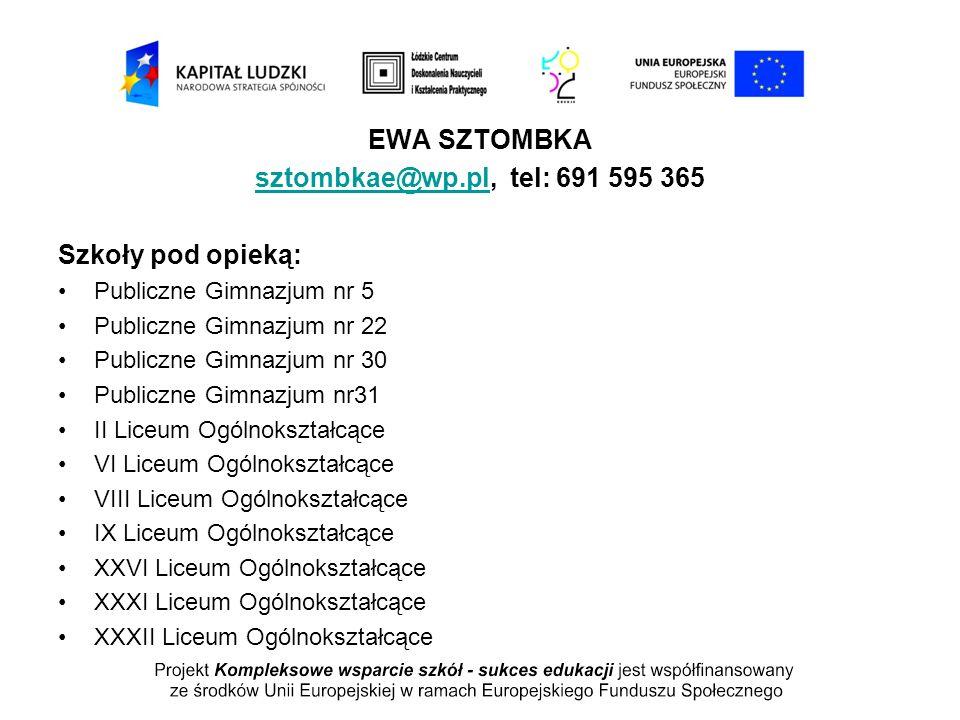 EWA SZTOMBKA sztombkae@wp.plsztombkae@wp.pl, tel: 691 595 365 Szkoły pod opieką: Publiczne Gimnazjum nr 5 Publiczne Gimnazjum nr 22 Publiczne Gimnazju