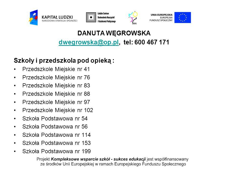 DANUTA WĘGROWSKA dwegrowska@op.pldwegrowska@op.pl, tel: 600 467 171 Szkoły i przedszkola pod opieką : Przedszkole Miejskie nr 41 Przedszkole Miejskie