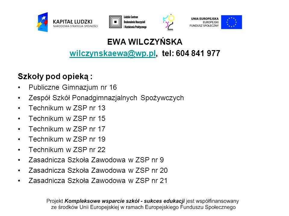 EWA WILCZYŃSKA wilczynskaewa@wp.plwilczynskaewa@wp.pl, tel: 604 841 977 Szkoły pod opieką : Publiczne Gimnazjum nr 16 Zespół Szkół Ponadgimnazjalnych