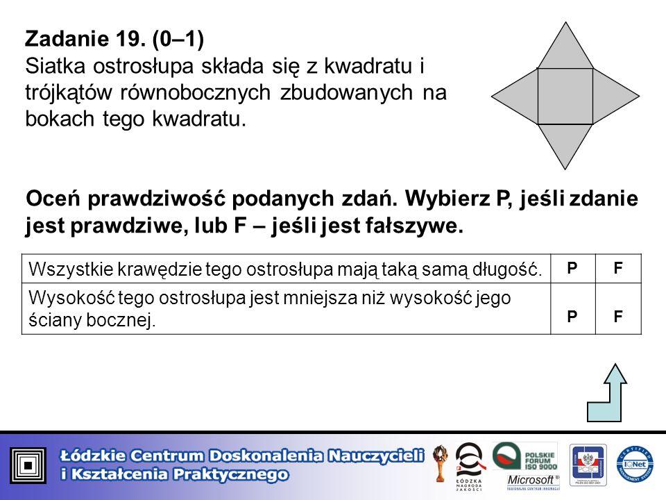 Zadanie 19. (0–1) Siatka ostrosłupa składa się z kwadratu i trójkątów równobocznych zbudowanych na bokach tego kwadratu. Oceń prawdziwość podanych zda