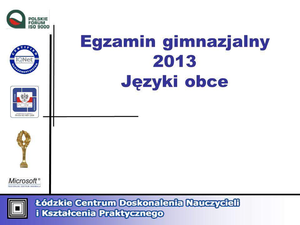 Egzamin gimnazjalny 2013 Języki obce