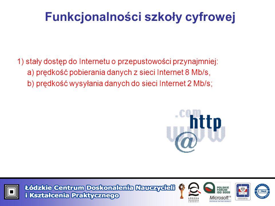 Funkcjonalności szkoły cyfrowej 1) stały dostęp do Internetu o przepustowości przynajmniej: a) prędkość pobierania danych z sieci Internet 8 Mb/s, b) prędkość wysyłania danych do sieci Internet 2 Mb/s;