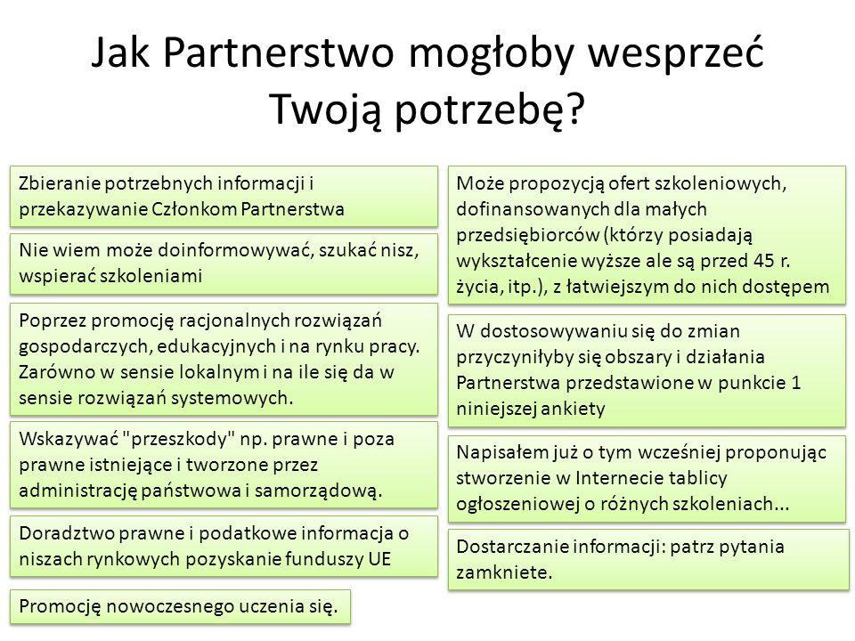 Jak Partnerstwo mogłoby wesprzeć Twoją potrzebę? Wskazywać