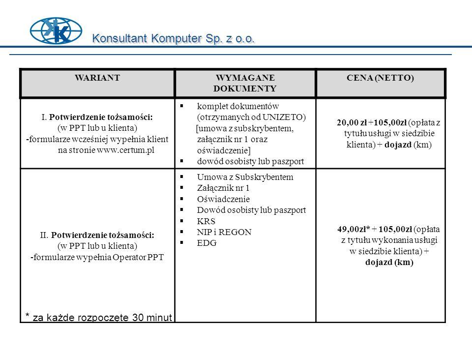 Konsultant Komputer Sp. z o.o. WARIANTWYMAGANE DOKUMENTY CENA (NETTO) I. Potwierdzenie tożsamości: (w PPT lub u klienta) -formularze wcześniej wypełni